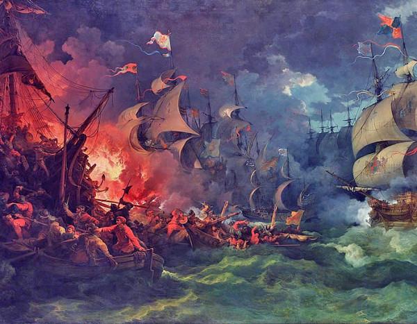 Den spanske armadas nederlag, av Philippe-Jacques de Loutherbourg, malt 1797, forestiller slaget ved Gravelines.
